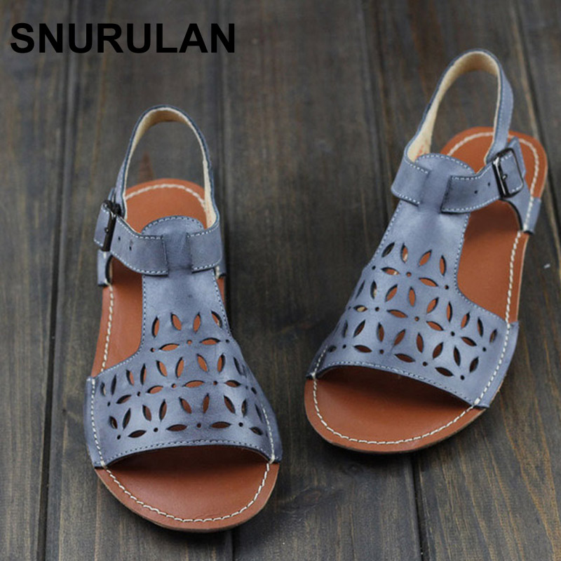 SNURULAN Woman Shoes Gladiator Women Sandals Genuine Leather Ladies Flat Sandals Summer Shoes Female Footwear women sandals 2017 summer shoes woman wedges fashion gladiator platform female slides ladies casual shoes flat comfortable