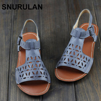 SNURULAN Woman Shoes Gladiator Women Sandals Genuine Leather Ladies Flat Sandals Summer Shoes Female Footwear