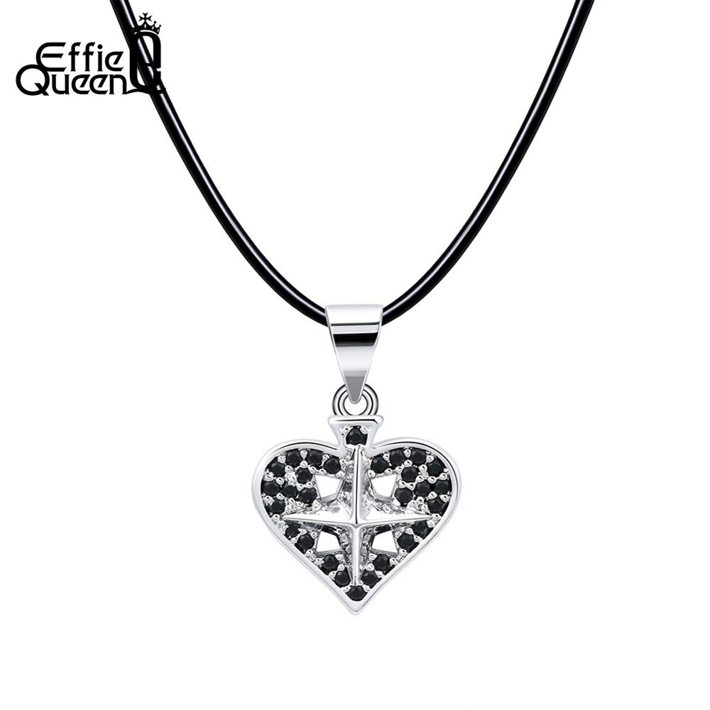 Effie Queen Romantic Heart Necklaces Cross Pendant With Black AAA Cubic Zircon Genuine Leather Chain Women Jewelry Gift DN185