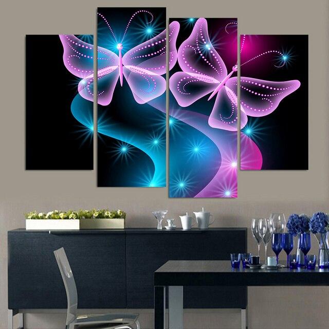 Framework Hd Printed Modern Canvas Modular Pictures 4 Panel Erflies Neon Light Home Decor Living Room