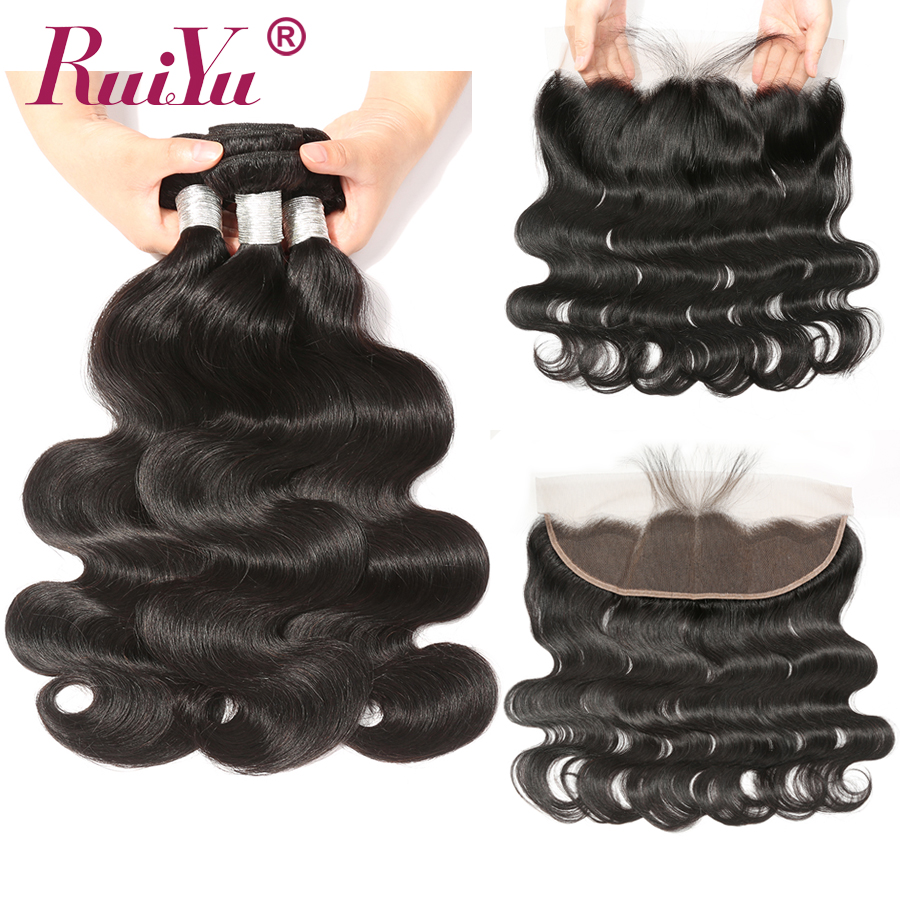 Brazilian Body Wave Human Hair Bundles With Frontal Closure RUIYU Lace Frontal With Bundles Non Remy