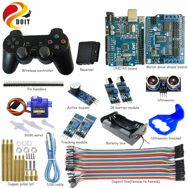 DOIT 1 set Wireless Development Kit 2-way Tracking IR Ultrasonic Obstacle Avoidance Controller kit for Tank Car Chassis path planning and obstacle avoidance for redundant manipulators