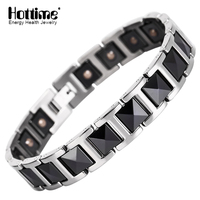 Hottime Black Men S Health Bracelets Bangles Magnetic Power Bio Energy Ta2 Titanium Steel Charm Bracelet