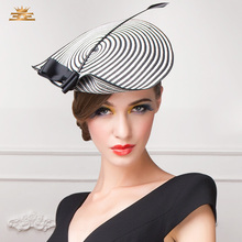 New British Fashion Stripe Hat Party Elegant Gift Hat Club Personality Bonnet Lady Church Cap Wanita Pelajar Travel Hat B-7492