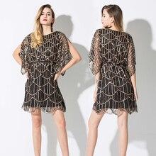 Повседневные платья с пайетками короткие женские модные летние вечерние Клубные платья с круглым вырезом мини-платье vestido de festa Роскошные