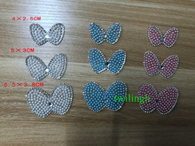 1 piece Pearl Bead Patches Chilren Bow Tie Crystal Hot Fix Rhinestone Iron on Fake Collar for Baby Suit Clothes Gift