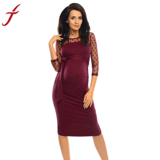 19fb7394c6711 FEITONG Pregnancy Dress Women Summer Dress Three Quarter Maternity Ruched  Bodycon Polka Dot Printed Woman Lace Dresses vestido