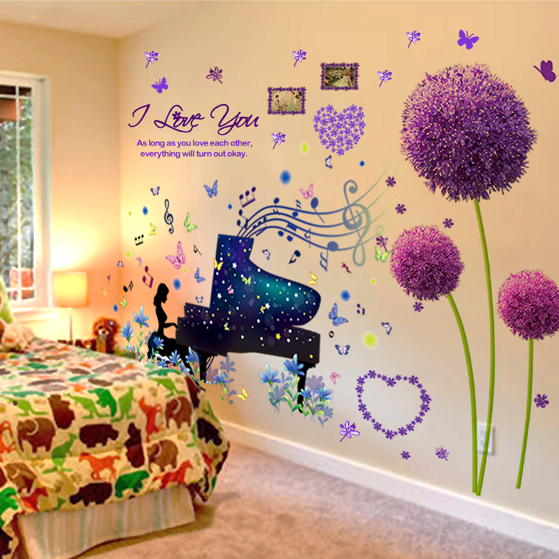 [SHIJUEHEZI] Piano Performance Girl Wall Sticker Vinyl DIY Purple Color Dandelion Wall Art for Kids Room Living Room Decoration