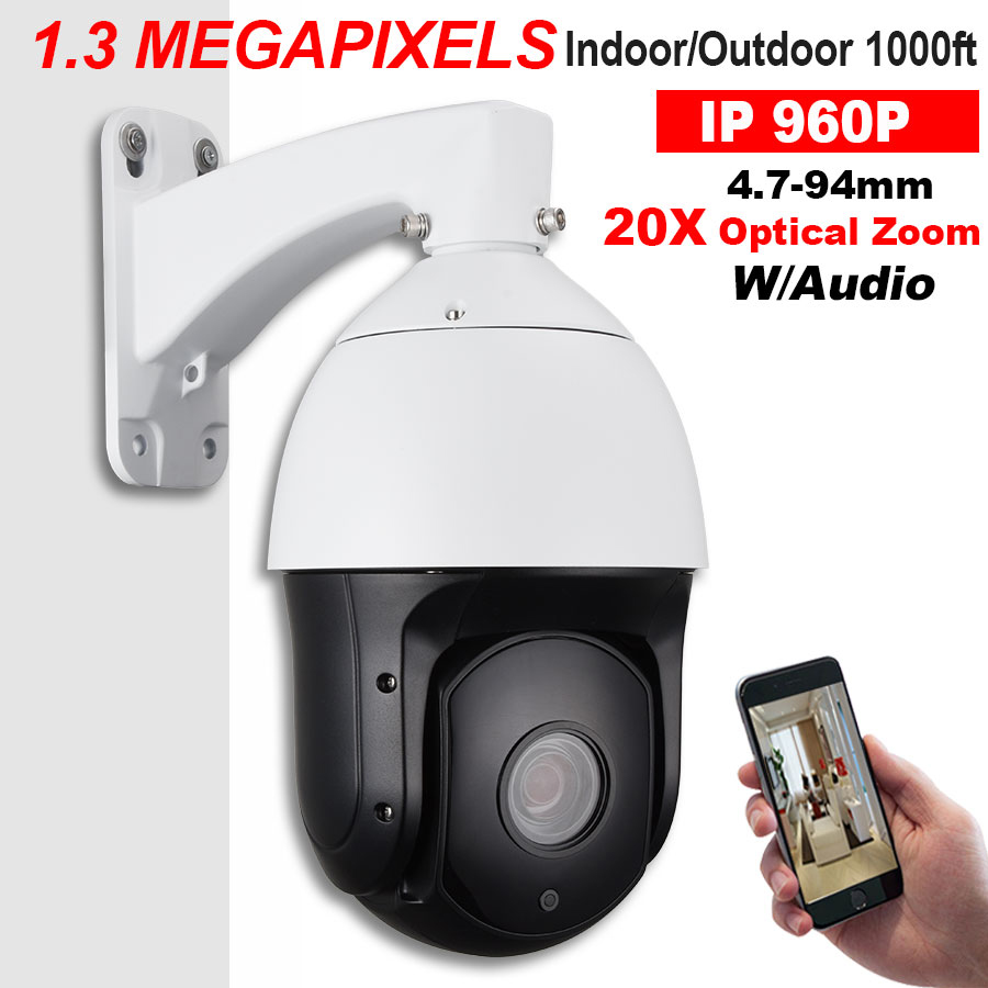 Security CCTV SONY CMOS 1.3MP IP66 High Speed POE PTZ Camera HD IP Network 960P 20X Optical ZOOM Pan/Tilt IR 300M ONVIF Audio In