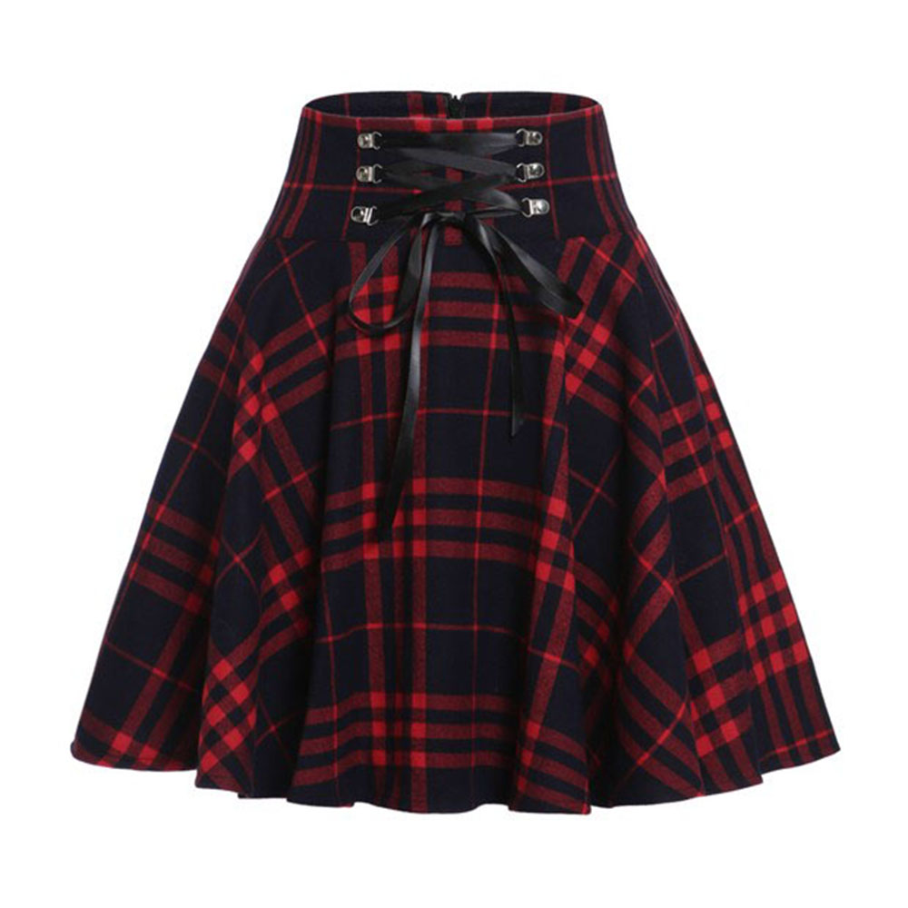 Gothic Women Skirts Casual Sexy Club Korean Harajuku Red Plus Size Preppy Aline Plaid High Waist Summer Button Female Mini Skirt