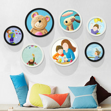 Childrens room decoration painting frame fresh cartoon paintings bedroom bedside wall mural restaurant round the kinde
