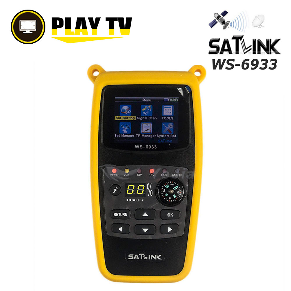 Original Satlink WS 6933 DVB S2 Satfinder FTA C KU Band Digital Satellite Finder 2 1