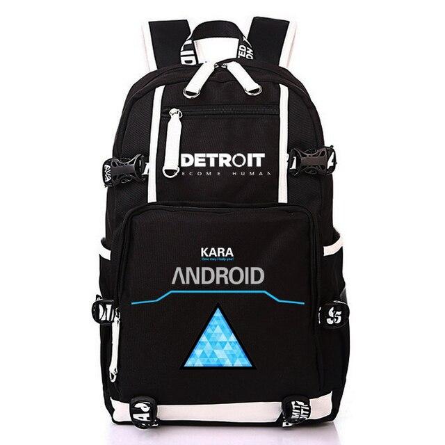 b527f7228b Anime Game Detroit Become Human Design Backpack Teenage Girl Backpacks women  men Laptop Shoulder travel Bags