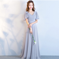 New arrival bridesmaid dresses for women grey elegant gown v neck with short sleeves lotus sleeve chiffon bride maids gowns