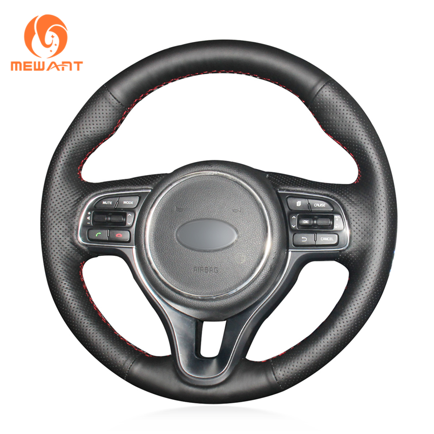 MEWANT Black Genuine Leather Hand Sew Car Steering Wheel Cover for Kia K5 Optima 2016 2018