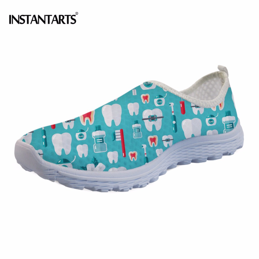 INSTANTARTS 2018 New Women Casual Flat Shoes Cartoon Dentist Pattern Mesh Sneakers Super Light Breathable Female Summer Flats instantarts fashion women flats cute cartoon dental equipment pattern pink sneakers woman breathable comfortable mesh flat shoes