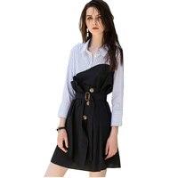 Lattice Stitching Plus size Shirt Spring Summer Women Dress Korean 2018 Harajuku vestidos Loose Bandage Ladies Sexy Dresses Z573