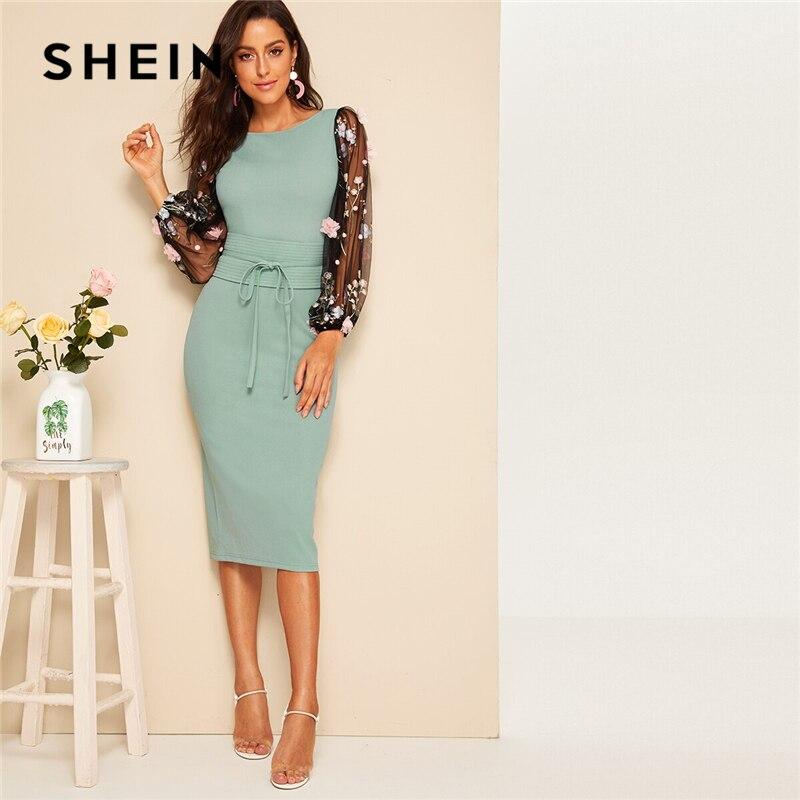 SHEIN 3D Appliques Mesh Sleeve Corset Belted Pencil Dress 2019 Elegant Green Bishop Sleeve Spring Autumn Sheath Women Dresses