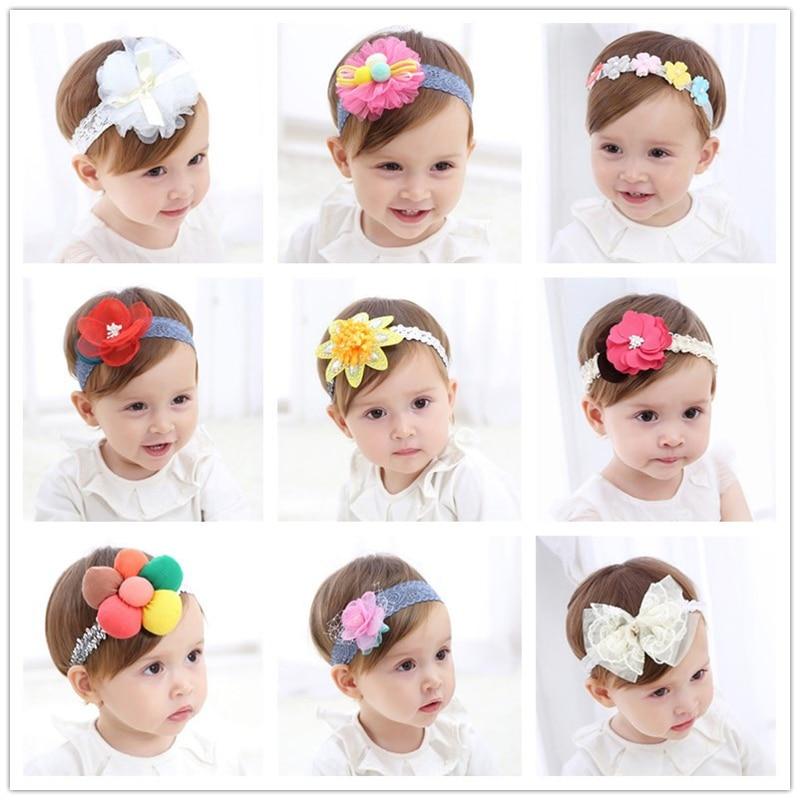 20 typer mode nye børn hår tilbehør baby band blonde blomster - Babytøj