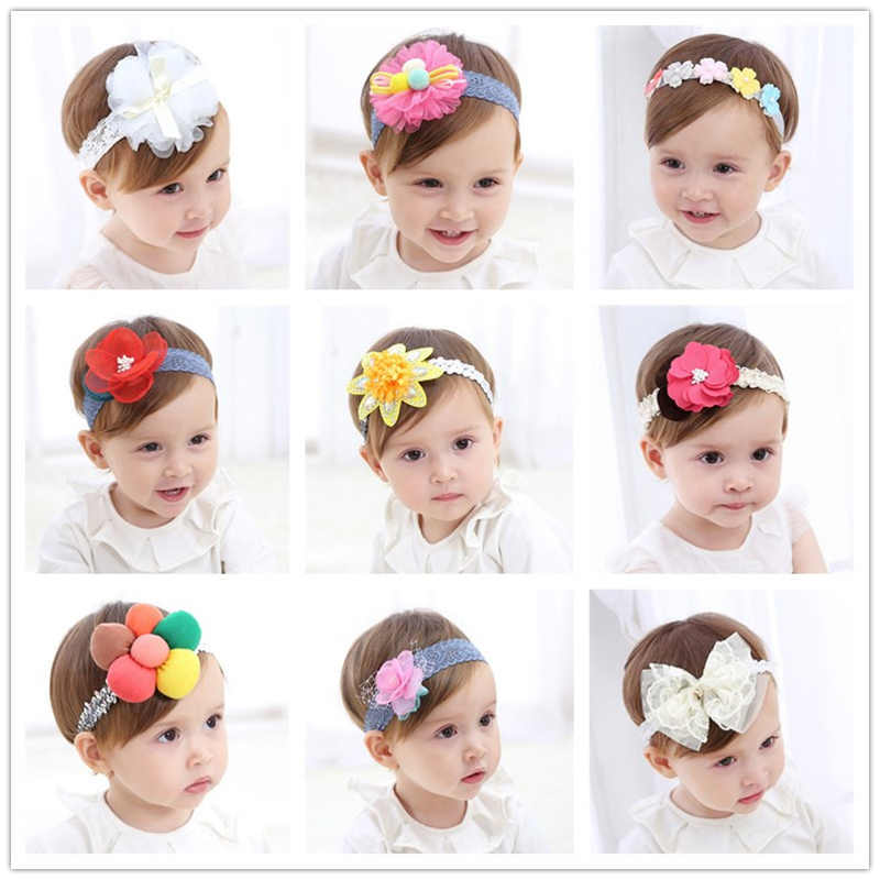 20 Types Fashion Newborn Toddler Children Hair Accessories Baby Headband Lace Flowers Cute Kids Girl Headgear Elastic Headdress