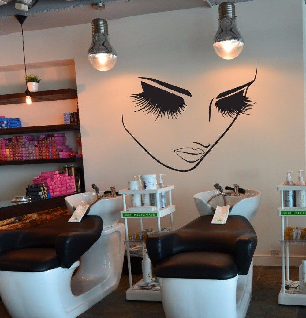 Beauty Eyelash Spa Salon Woman Face Wall Sticker Hair Nail Manicure Fashion Window Decal Vinyl Decor