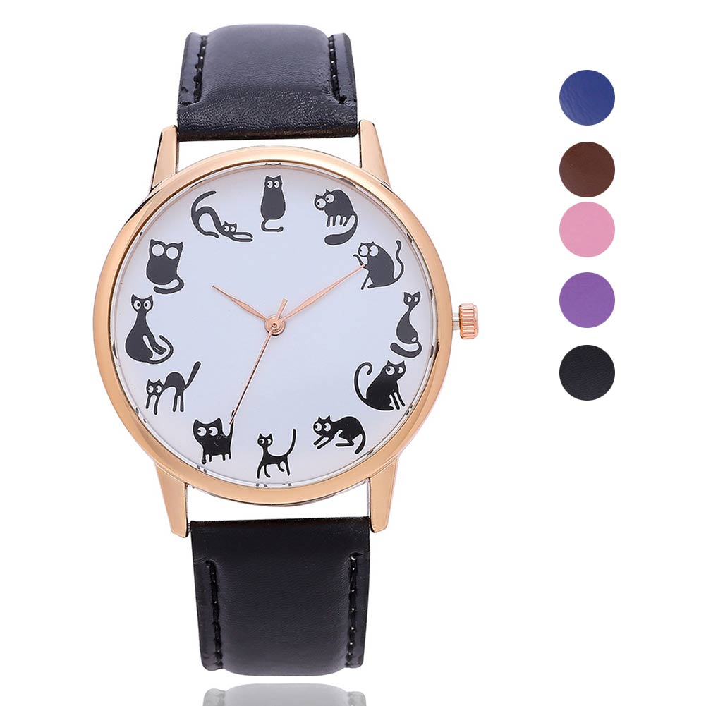 5 Colors Cute Girl Quartz Watch Animal All Cats Pattern Simple Watches PU Leather Band Sports Casual Wristwatch Gifts LL@17