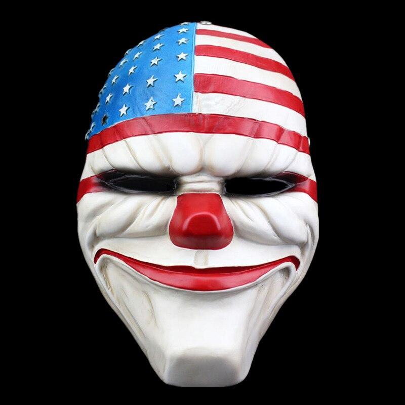 Payday 2 Маски для век Даллас Америки Косплэй маска Хэллоуин вечерние карнавал Маски для век смолы страшно Смешные клоун Маски для век Домашний...