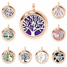 Rose gold 25 mm Cute tree of life just breathe Locket Perfume diffuser essential oil locket fit necklace making 1 pad no chain(China)