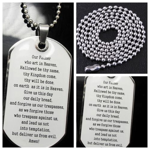 cheap bible text dog tag necklace custom high quality prayer Bible pendant