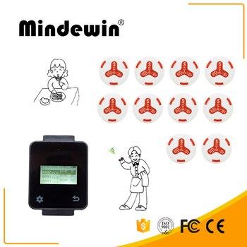 Mindewin Wireless Restaurant System Long Range Receiver M-W-2 Wrist Black Touch Watch With 10 M-K-4 White Calling Button