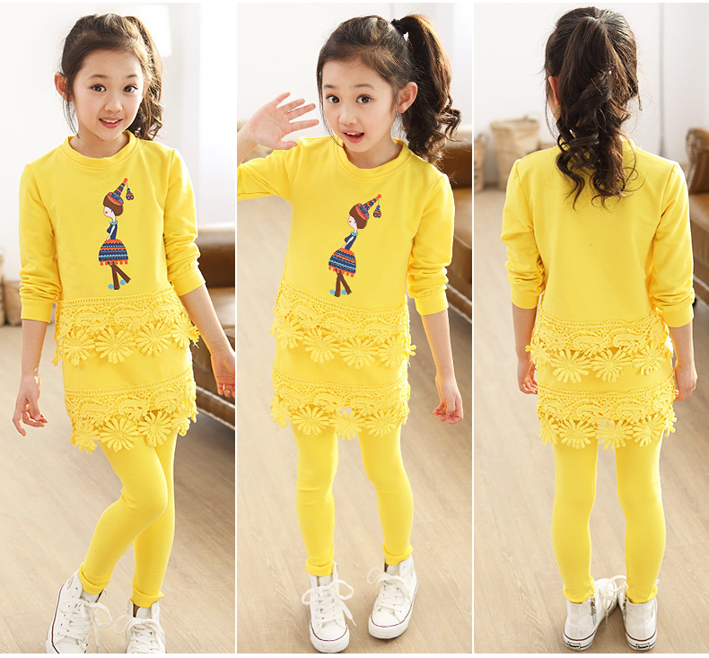 2017 New Spring&Autumn Children Clothing Girls Cartoon Girl Candy Flower Lace T-Shirt+Skirt pants 2pcs sets Kids Clothes