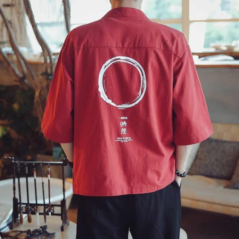Camicette maschio camicia hawaiana uomini kimono Giapponese cardigan harajuku Giapponese streetwear abbigliamento fresco camicia maschile camicia KK2808