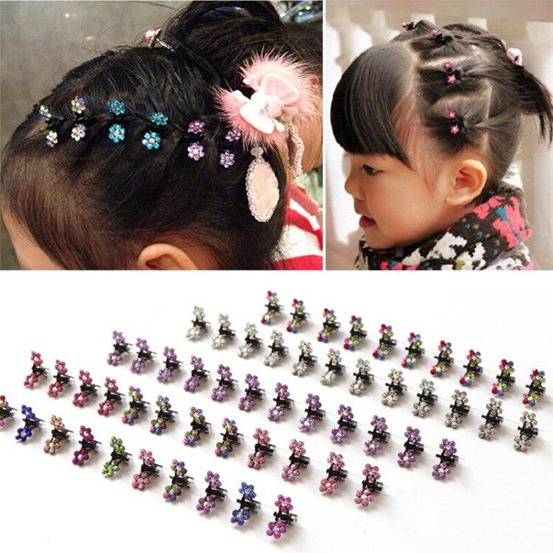 New 12PCS/Set Fashion Girls Cute Colorful Rhinestone Flower Hairpins Princess Hair Clip Headband Barrettes Kids Hair Accessories