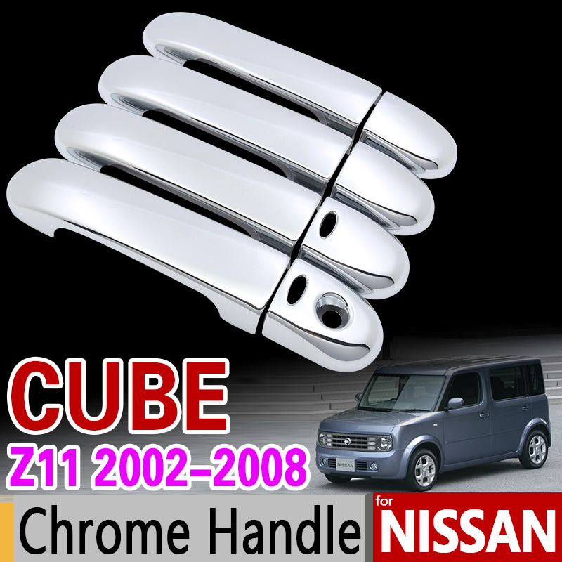 For Nissan CUBE Z11 2002 - 2008 Chrome Handle Cover Trim Set for 4Door Car Accessories Stickers Car Styling 2003 2005 2006 2007 for toyota isis platana 2004 2015 chrome handle cover trim set 2005 2006 2007 2008 2010 2012 2013 2014 accessories car styling