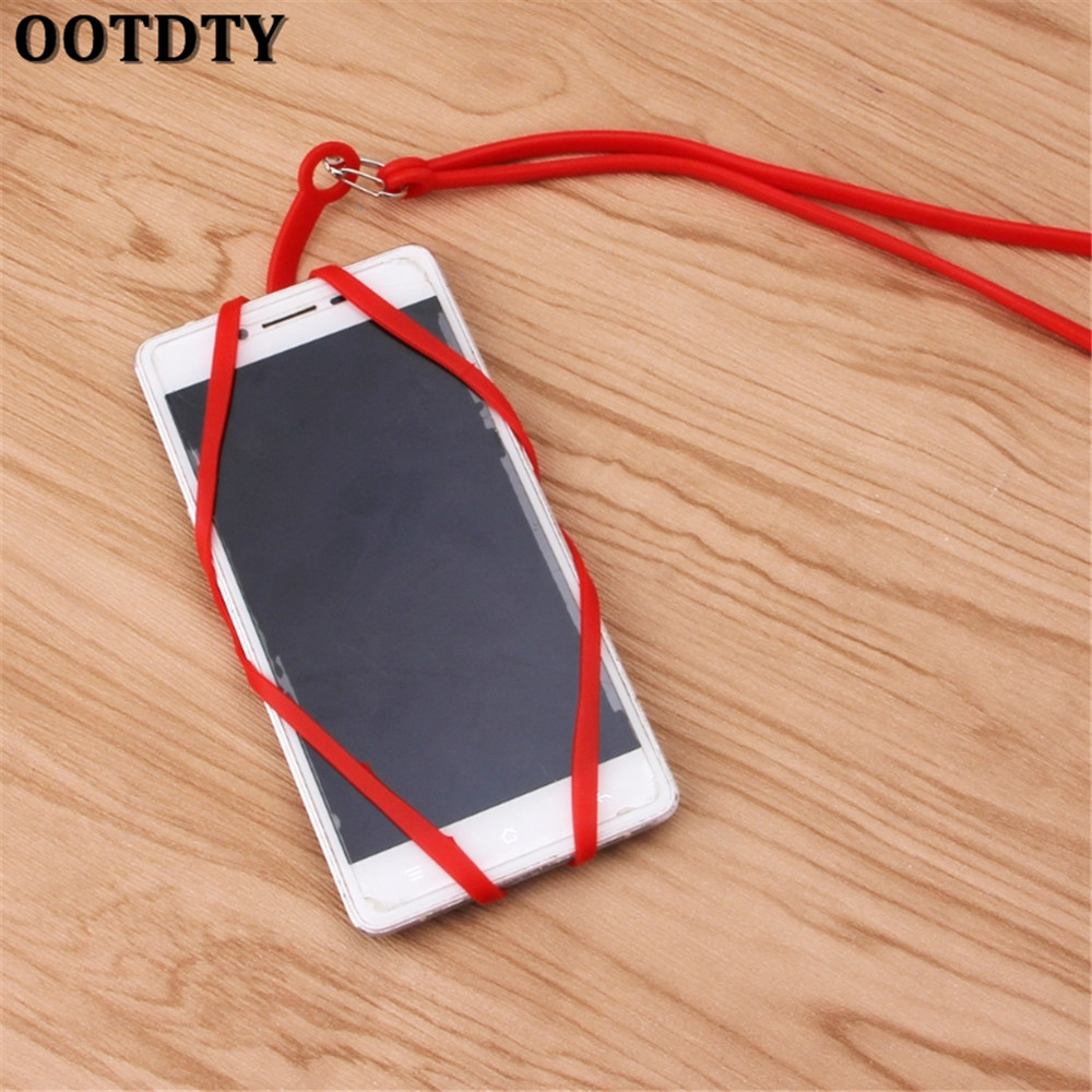 OOTDTY Chain Lanyard Silicone phone Case For iphone X 5 6 7 8 xiaomi mi6 mi5 mate10 htc10 g6 k10 strap card holder pounch