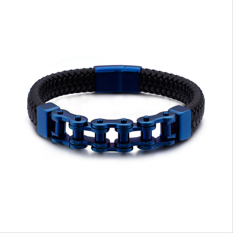 Men Biker Bicycle Motorcycle Chain Bracelet Bangle Genuine Leather Braided Titanium Steel Bracelet Men Jewelry Trendy Bracelets