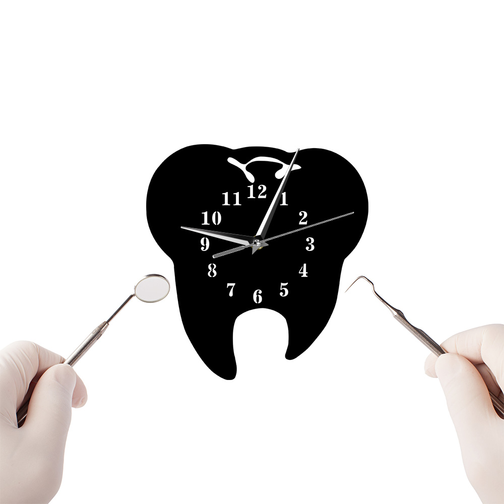 Mirror Surface Tooth Dentistry Wall Clock Dental Clinic Office Decorative Clock Watch Dental Surgeon Teeth Care Gift For Dentist image