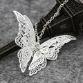 New Fashion Silver Plated Openwork White Butterfly Necklace Pendant Jewelry For Women Gift