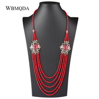 Luxury Natural Stone Red Crystal Beads Strand Tassel Necklace For Women Antique Gold Unique Vintage Wedding Jewelry