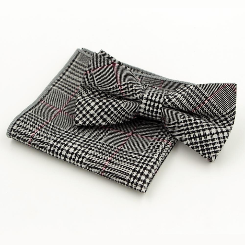 Fashion Men's Cotton Bow Tie Hanky Set Wowen Jacquard Bowtie For Men Pocket Square Wedding Grooms Butterfly S09