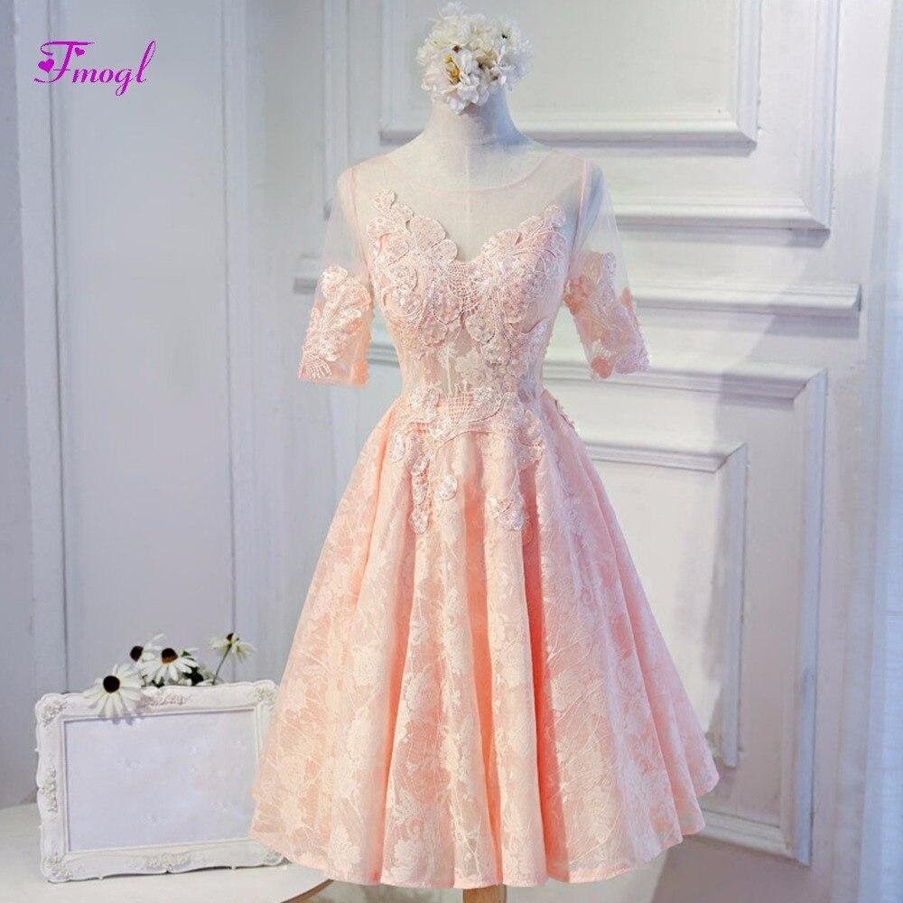 Fmogl Новое поступление мода Scoop шеи Половина рукава Кружева Homecoming платья 2018 Изящные аппликации Платья для выпускного часть платье