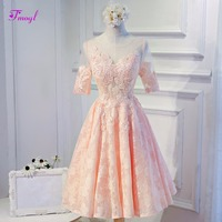 Fmogl New Arrival Fashion Scoop Neck Half Sleeves Lace Homecoming Dresses 2018 Graceful Appliques Graduation Dresses Part Gown