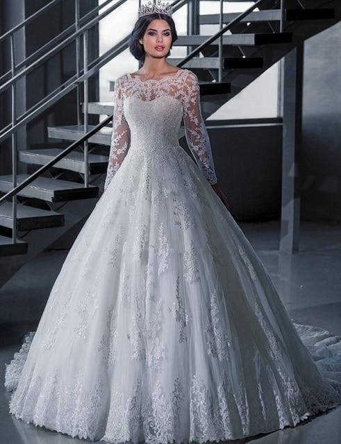 Vintage bridal ball gown long sleeve lace wedding dresses princess vintage bridal ball gown long sleeve lace wedding dresses princess bride vestido de noiva robe de junglespirit Images