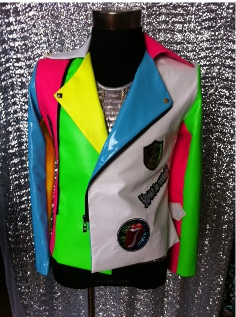 Male singer white Colorant match milk  Leather Jacket Nightclub Dj Singer performance outerwear