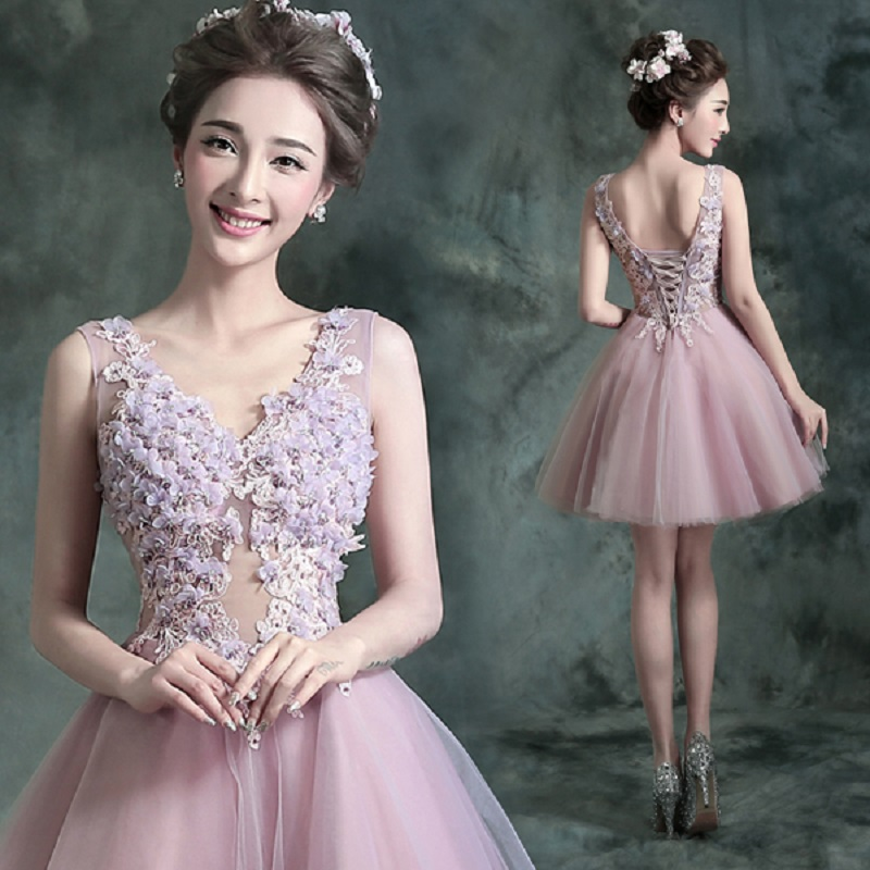 2018 new stock plus size women pregnant   bridesmaid     dresses   wedding party ball gown flower mini sexy romantic cheap purple   dress
