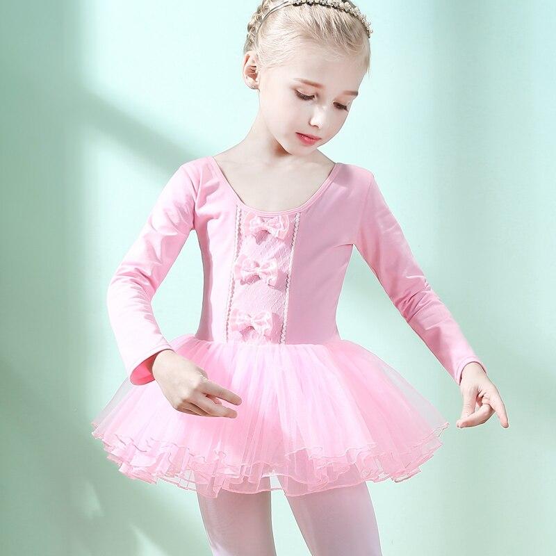 Ballet Tutu robe filles à manches longues gymnastique justaucorps enfants Costumes body Performance pratique porter des robes de danse DN1853