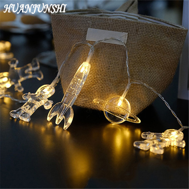 Us 10 83 27 Off Huanjunshi Outer E Led String Lights Baby Shower Party Decoration Lamp The Astronauts Eship Rocket Home Decor For Kids In