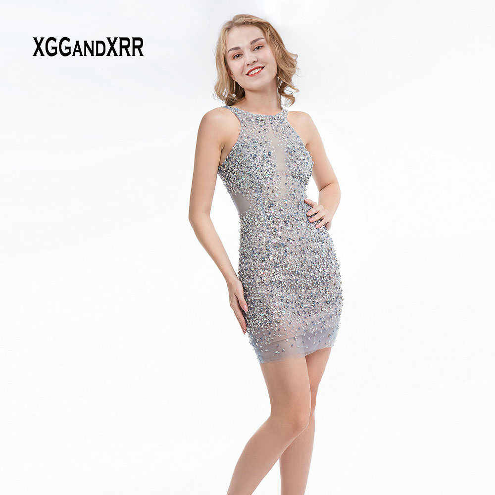 huge sale select for best Sales promotion Straight Short Homecoming Dress 2019 Halter Beading Crystal Sexy Low Back  Slim Fit Prom Dress High School Graduation Party Gown