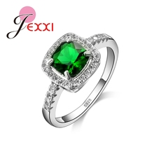 JEXXI Brand Big Square Green Cubic Zirconia Ring Women 925 Sterling Silver Bridal Wedding Engagement Ring Jewelry