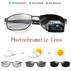 ZJHZQZ Men's UV400 Fishng Polarized Photochromatic Sunglasses Outdoor Driving Transition Chameleon Lens